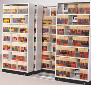 Lateral Mobile Shelving for Medical File Charts